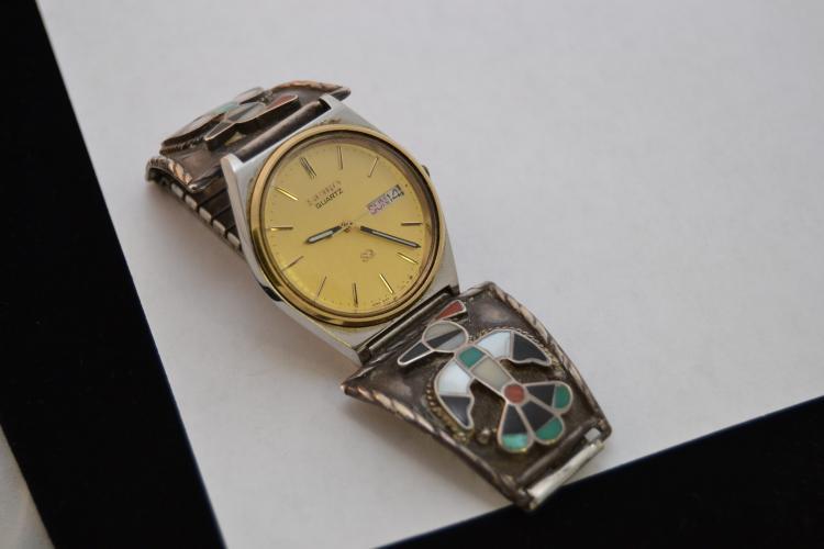 Vintage Zuni Inlaid Peyote Bird Watch Tips With Seiko Mens Watch