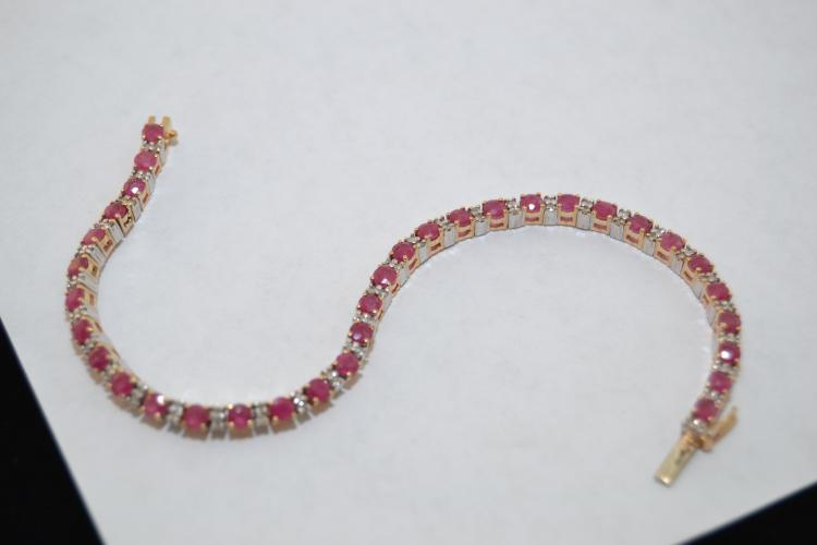 10.6 Gram 14 Karat Yellow And White Gold Ruby Diamond Chip Tennis Bracelet