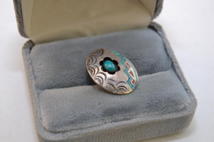 Vintage Navajo Sterling Turquoise Coral Inlaid Shadow Box Pendant Signed Prairie Fire