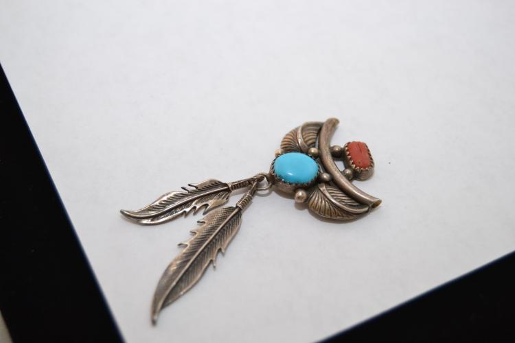 Vintage Navajo Sterling Turquoise Coral Bib Dangle Feather Pendant