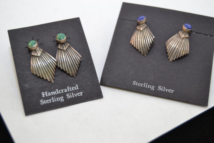 2 Pr Vintage Navajo Sterling Lapis Malachite Fan Earrings
