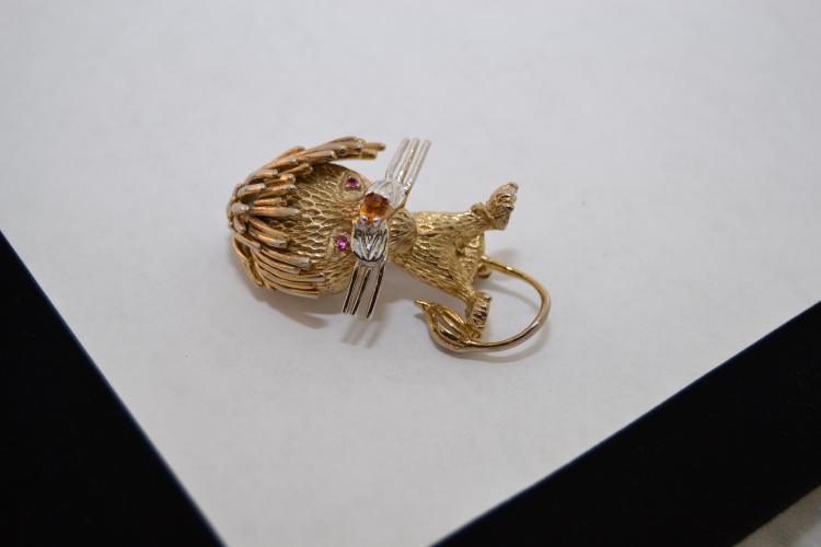 Vintage Designer Lee Bernard Sterling Lion Ruby Citrine Gemstone Brooch