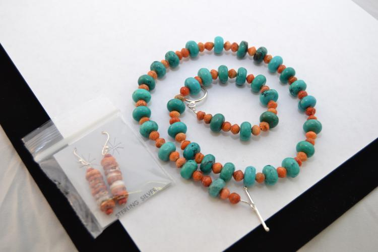 Navajo Turquoise Disc And Spiny Oyster Bead Necklace & Earring Lot