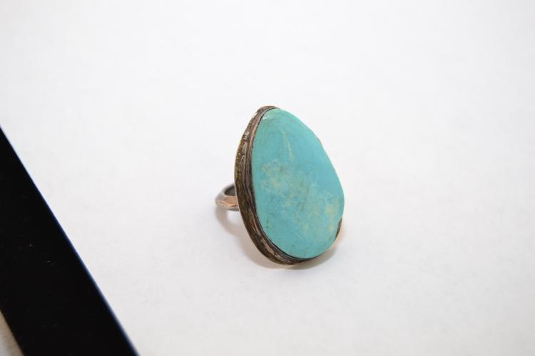 Vintage Navajo Sterling And Sleeping Beauty Turquoise Ring Size 6