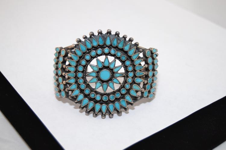 80G Vintage Zuni Sterling Turquoise Flush Inlay Cluster Cuff Mens Bracelet