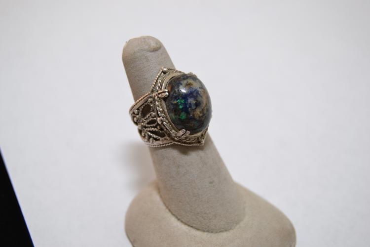 Vintage Sterling Filigree Azurite Chrysocolla Ring Size 7