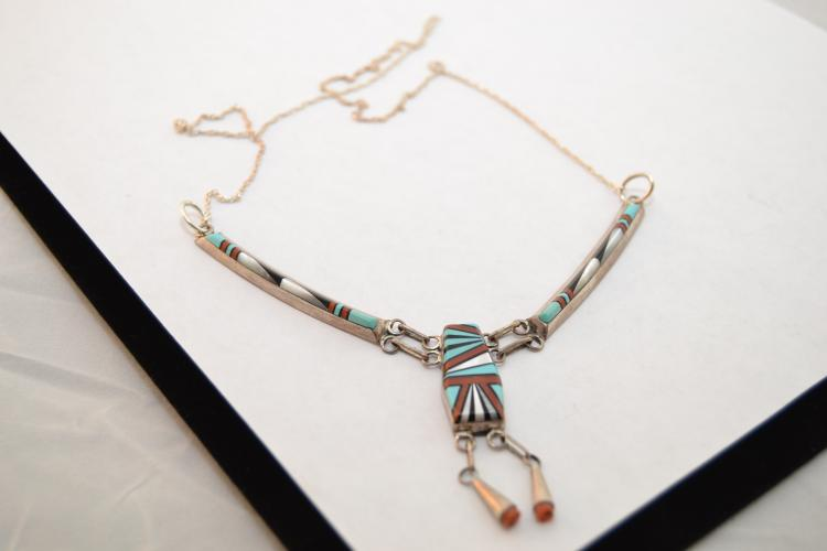 Zuni D Lucio Sterling Turquoise Jet Mother Of Pearl Coral Exquisitely Inlaid Necklace