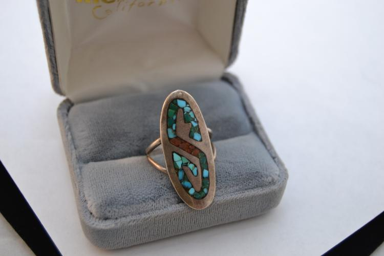 Vintage Zuni John Cly Sterling Turquoise Coral Chip Inlay S Ring Sz 8