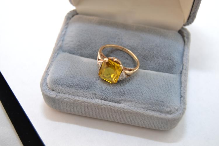 2.8G Antique 10K Gold Citrine Diamond Chip Yellow Gold Ring Size 6