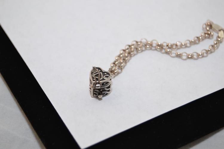 7.9G Sterling Silver Bracelet With Miniature Heart Box Charm