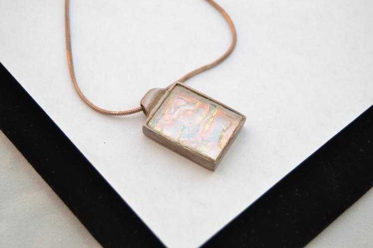 Modern Sterling And Opalized Dichroic Glass Pendant Necklace