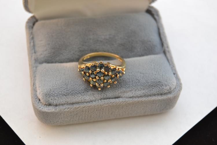 New Gold Over Sterling Blue Sapphire Cluster Fashion Ring Size 7