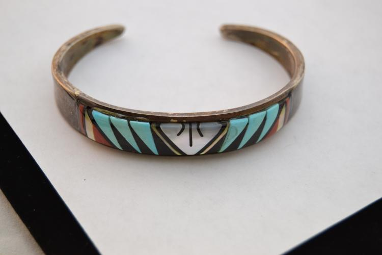 Cm Booqua Zuni Sterling Turquoise Coral Mother Of Pearl Inlaid Cuff Bracelet