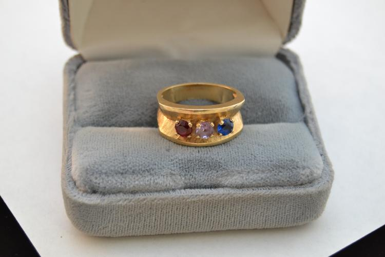 5.6G 14K Gold Cornelia'S Jewels Red White Blue Vintage Fashion Ring Size 7.5