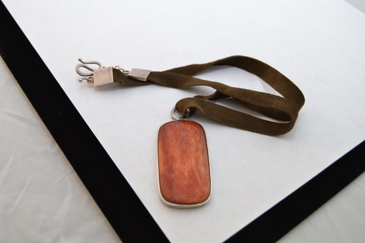 J.Jill Sterling Dyed Red Bone Pendant On Leather & Sterling Necklace