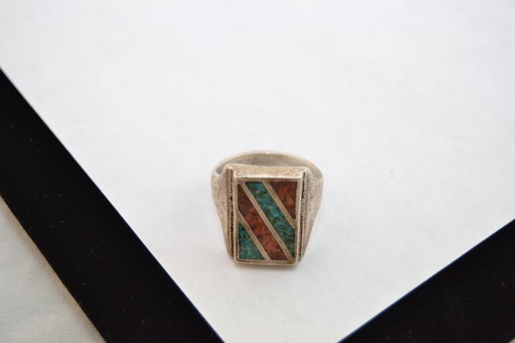 13G Vintage Men'S Zuni Sterling Turquoise Coral Chip Inlay Sand Cast Ring Size 11