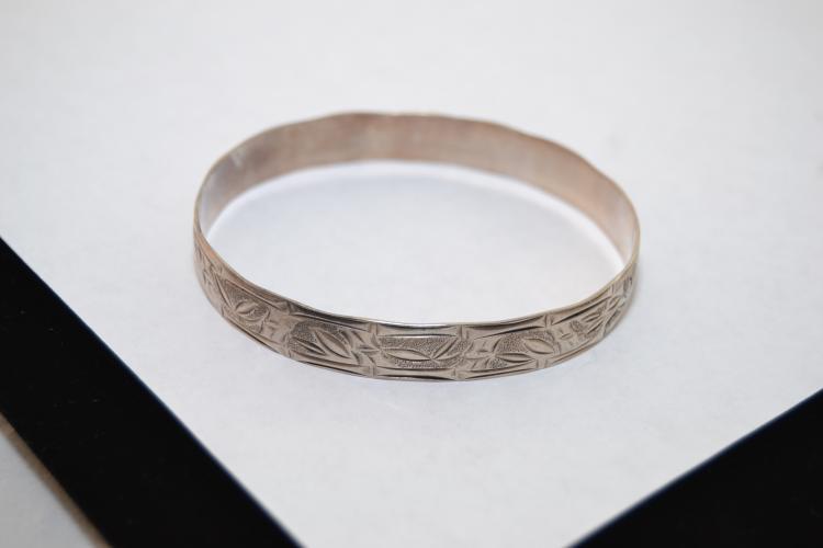 13.8G Vintage Oriental Sterling Silver Bamboo Motif Bangle Bracelet
