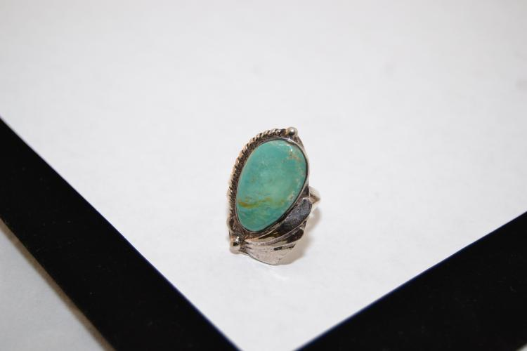 Vintage Navajo Sterling On Copper Sleeping Beauty Turquoise Ring Size 7