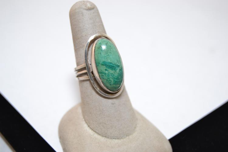 Vintage Sterling Navajo Chrysocolla Ring Adjustable Size