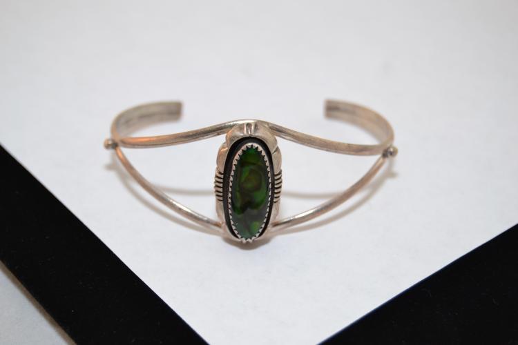 13.2G L Yazzie Navajo Sterling Abolone Cuff Bracelet