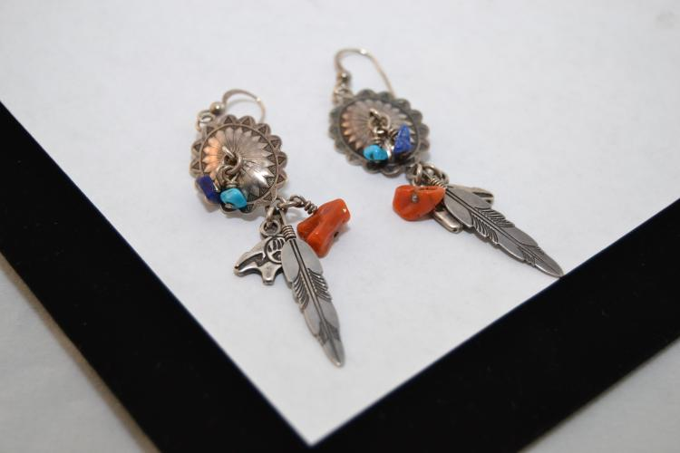 Vintage Sterling Navajo Concho Bear Feather Turquoise Lapis Coral Dangle Earrings