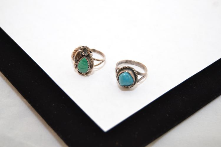 2 Vintage Navajo Sterling Turquoise & Malachite Child'S Rings Sizes 5&6
