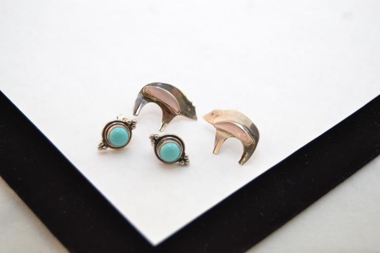 2 Pr Navajo Sterling Turquoise & Mop Bear Earrings