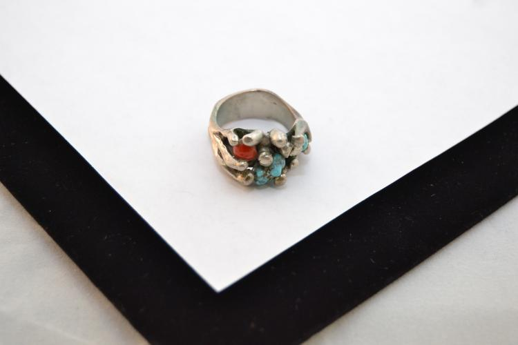 Sterling Silver Turquoise Coral Ring Size 7