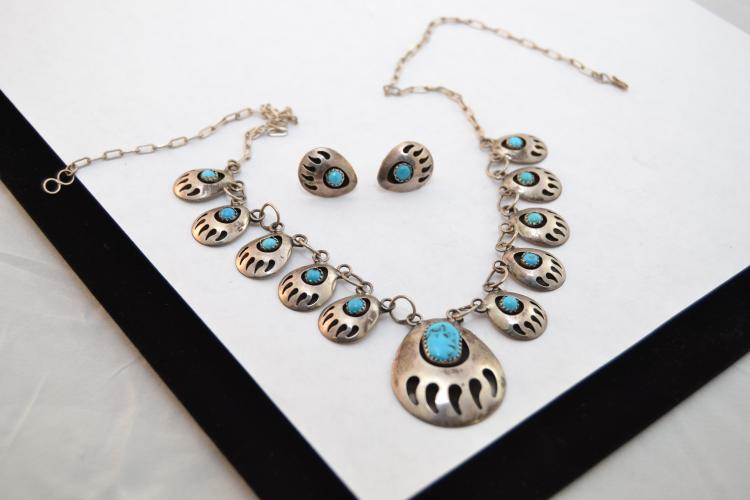 20G Vintage Navajo Sterling Turquoise Handmade Shadow Box Bear Paw Necklace & Earrings