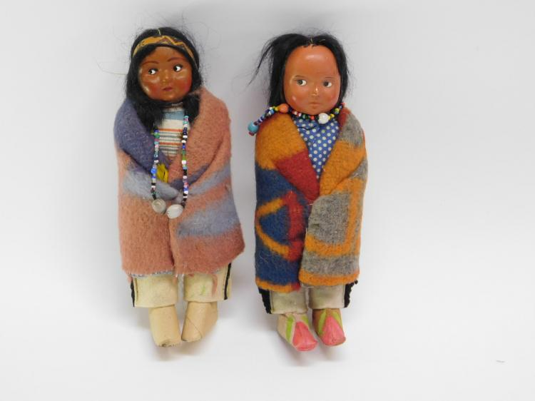 Lot Of Two Vintage Sookum Indian Dolls.