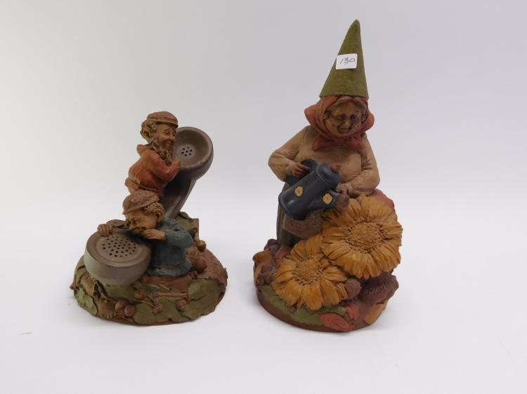 Pair Of Tom Clark Cast Resin Gnome Figurines.