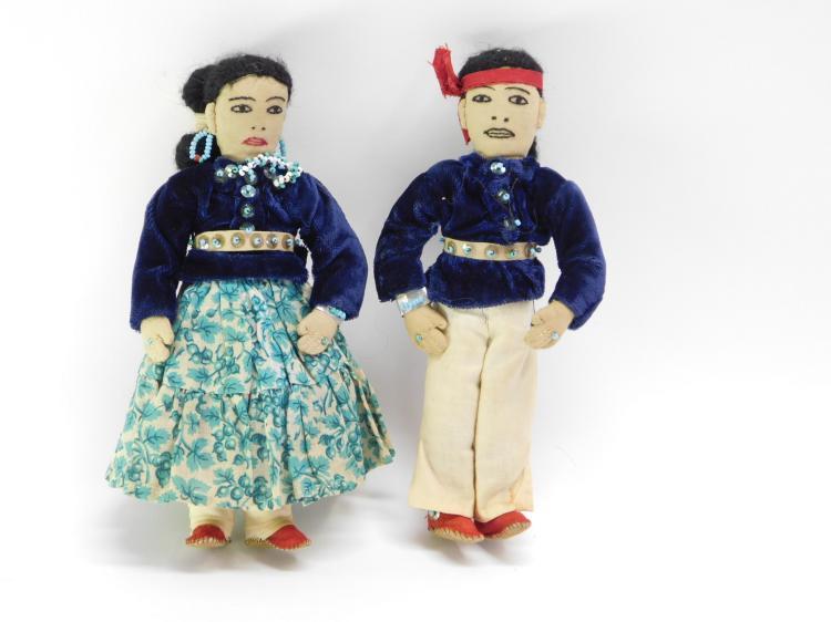 Pair Of Vintage Handmade  Indian Dolls.