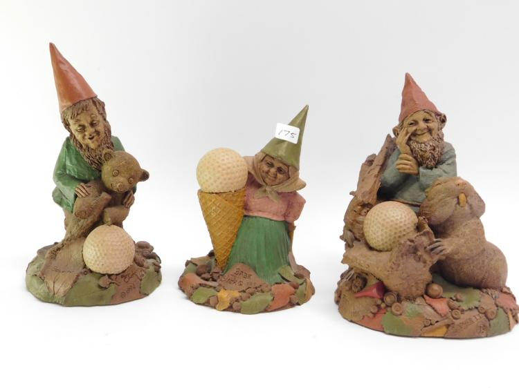 Lot Of Three Tom Clark Cast Resin Gnome Figurines.