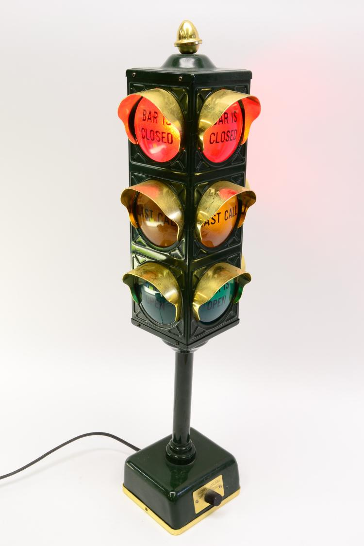 Vintage Novelty Bar Traffic Light Open Last Call Close