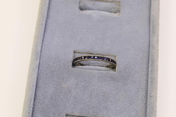1.6 Gram 14 Karat Gold Blue Sapphire Channel Ring Size 8