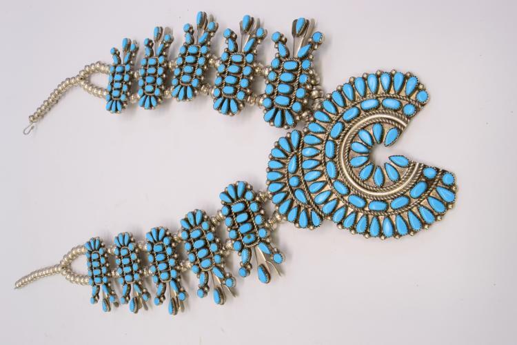 Vintage Huge Navajo Squash Blossom Sterling And Nickel Silver Necklace