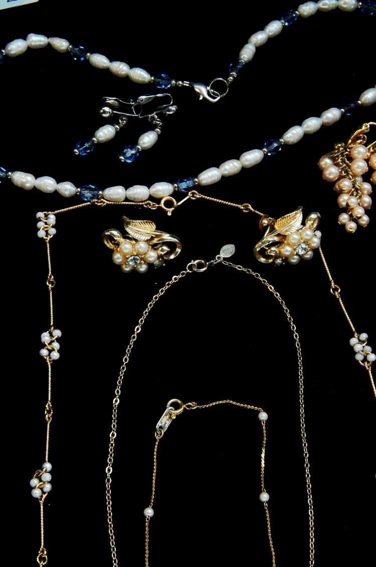 Lot 2: Freshwater Pearl & Faux Pearl Necklace Earring Lot
