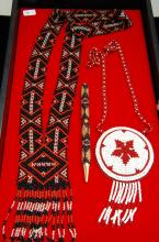 Lot 5: Seed Beaded Rosette Necklace & Inkpen Lot Of 3