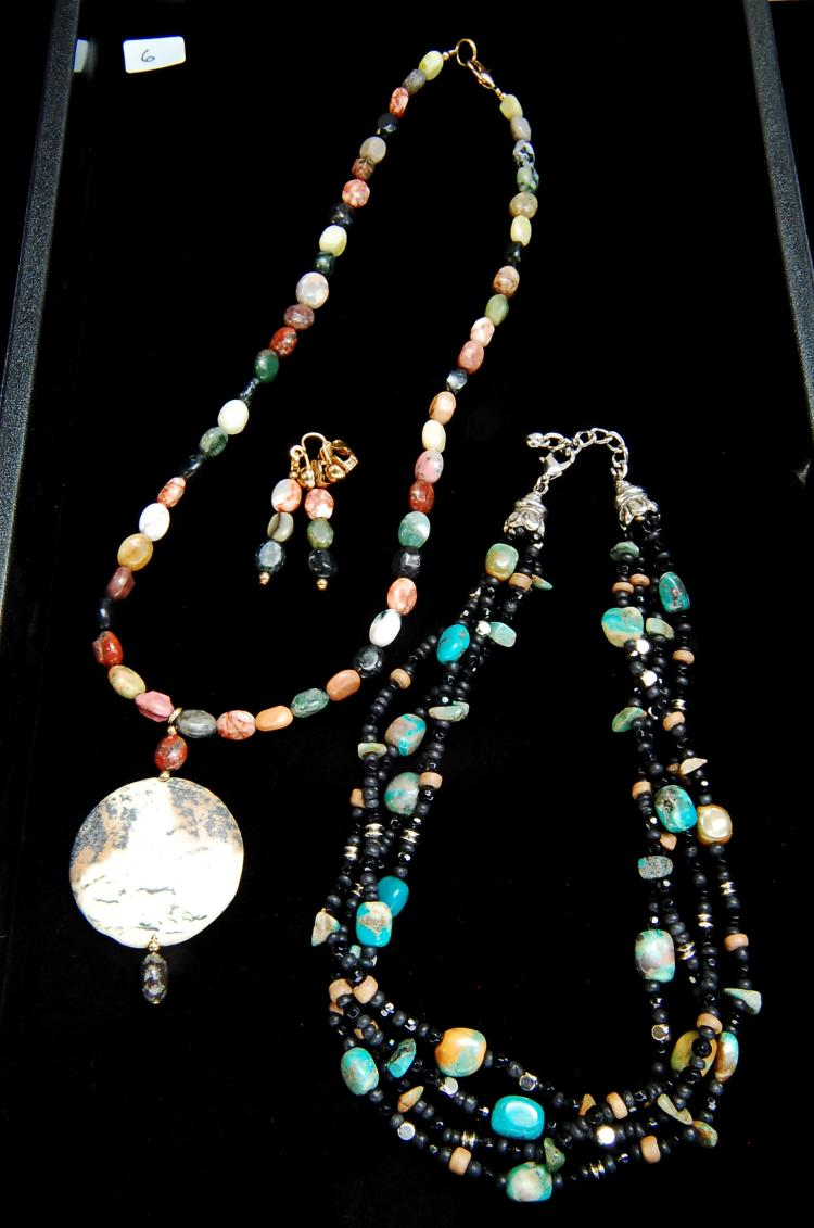 Turquoise & Jasper Beaded Necklace Earring Lot