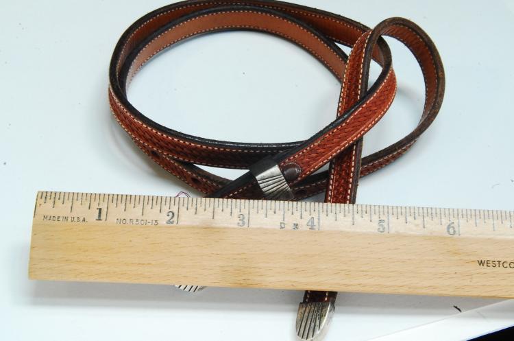 Lot 9: Leather Belt W/ Sterling Buckle & Tip Sz 28
