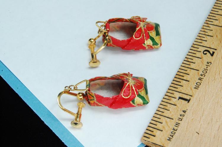 Lot 13: Oriental Paper Shoe Screw Back Earrings