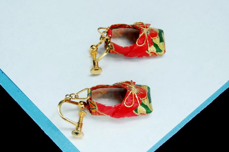 Oriental Paper Shoe Screw Back Earrings