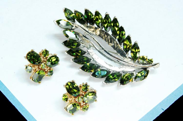 Faux Peridot Brooch Costume Jewelry Earring Set