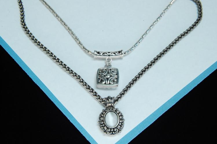Lot 15: Costume Jewelry Silvertone MOP Necklace Lot Of 2