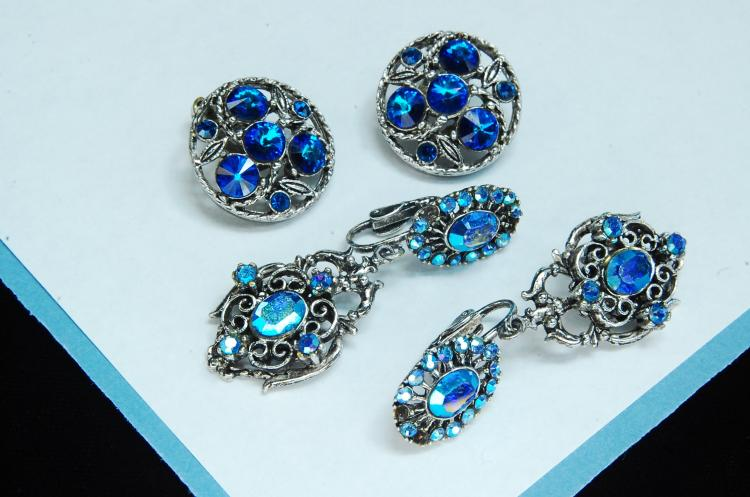 Silvertone Rhinestone Costume Jewelry Earrings