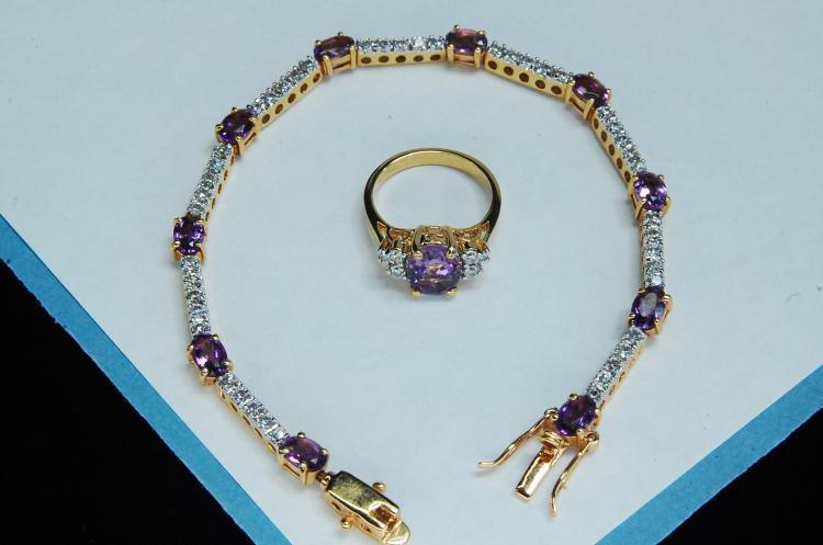Costume Amethyst CZ Bracelet Ring Size 5
