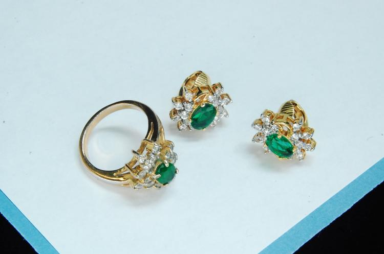 Costume Jewelry Green CZ Earrings Ring Set Size 6