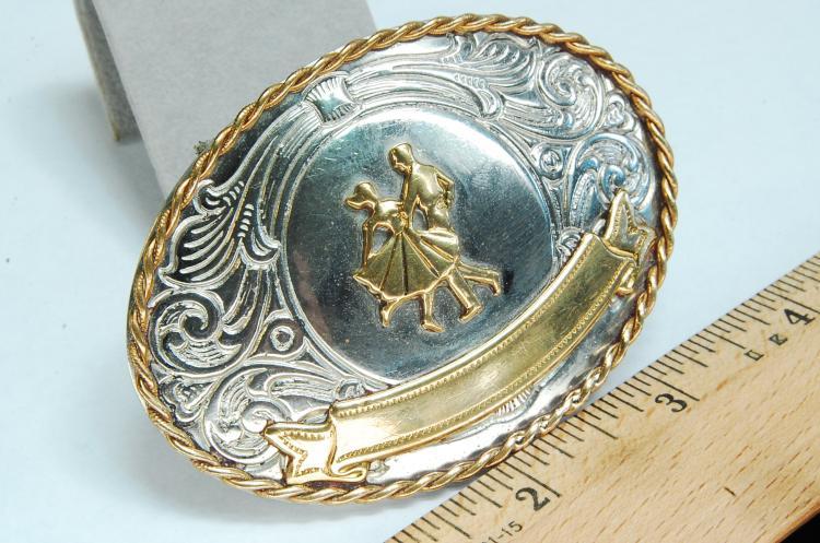 Lot 20: South Western Style Nickel Silver Belt Buckle
