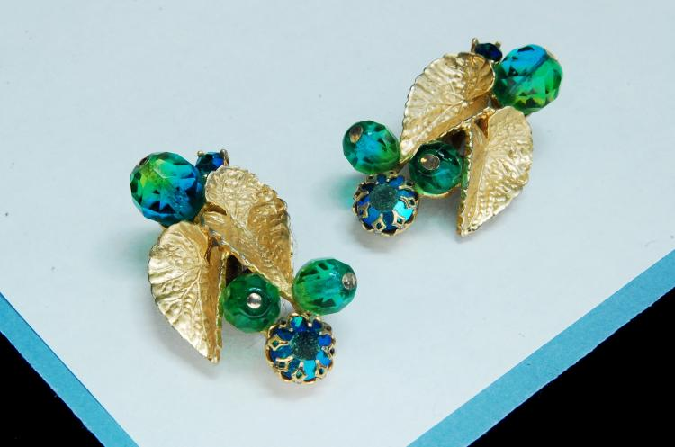 Vintage Schiaparelli Costume Jewelry Earrings