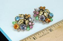 Lot 25: Lisner Colorful Rhinestone Clip-On Earrings